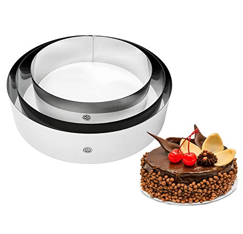 NewlineNY Stainless Steel Cake Mousse Rings for creating Round Appetizers, Molded Salads, Cakes, Mousse and Desserts, 3 Round Cake Mousse Flan Rings Set