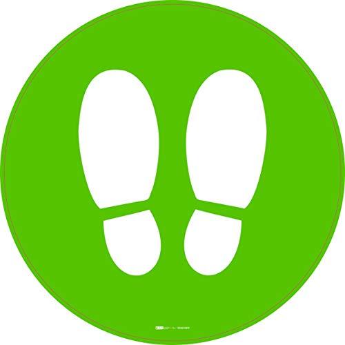 Emergenza sanitaria Covid 19 Adesivi please stop here calpestabili antiscivolo 5 pz - 30 x 30 cm (verde)