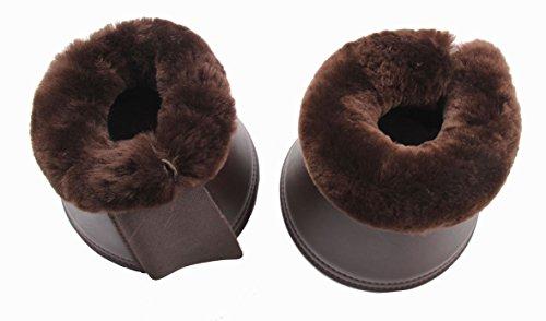 Merauno® Lammwolle Hufglocken, aus Kunstleder, mit Neopren-Innenfutter und Lammfellrand. Farbe:Natur, Schwarz, Braun, Anthrazit