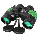 ESSLNB 7X50 Marine Binoculars IPX7 Waterproof Binoculars for Boating with Illuminated Rangefinder and Compass BAK4 Prism FMC Military Floating Binoculars for Navigation Hunting w/Bag and Strap