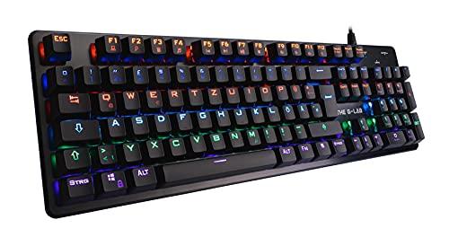 THE G-LAB Keyz CARBON V3 Mechanische Gaming-Tastatur QWERTZ Blue Switches - Mehrfarbige LED-Gaming-Tastatur mit Hintergrundbeleuchtung, Anti-Ghosting – Kompatibel mit PC/PS4/PS5/Xbox One/Xbox Series X