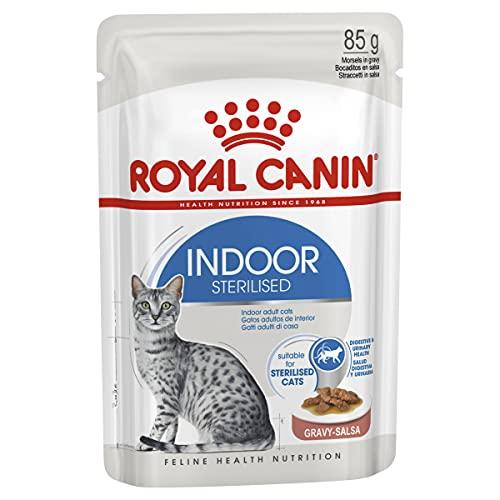 ROYAL CANIN Indoor Sterilised, Bocaditos en Salsa, Caja 12 x 85 gr