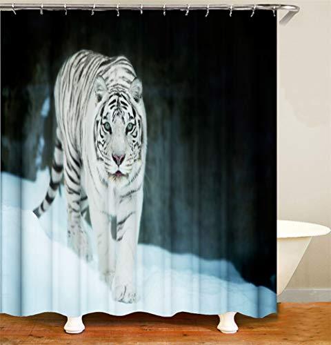 ZZZdz Tiger op een zwarte achtergrond. Douchegordijn. 180 x 180 cm. 12 vrije haken. Huisdecoratie. 3D Hd-druk. Eenvoudig te reinigen. Badkameraccessoires.
