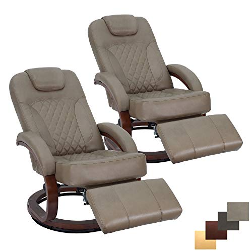 RecPro Nash 28' RV Euro Chair Recliner | Modern Design | RV Furniture | Swivel Base | Recliner Chair (2 Chairs, Putty)