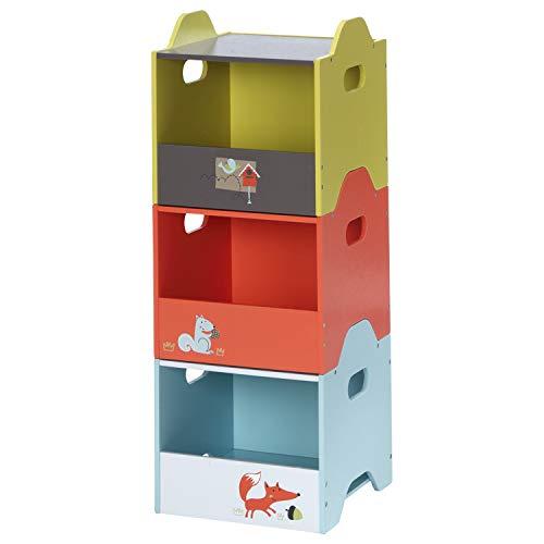 labebe aufbewahrungsbox kinder, baby spielzeugkiste holz, spielkiste stapelbar klein, kiste spielzeugbox aufbewahrungsregal GEBURTSTAGSGESCHENK - 30x30x30cm (orange,gelber,blauer)