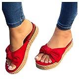 Cenglings Espadrilles Slides,Women's Plus Size Beach Open Toe Bowknot Platforms Sandals Leopard Print Wedges Shoes Slippers(Red,42)