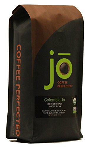 COLOMBIA JO   12 oz Organic Coffee   Whole Bean Medium Roast   100% USDA Fair Trade Kosher Certified   Gourmet GMO Free Gluten Free Organic Arabica Colombian Coffee from Jo Coffee