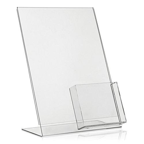 DIN A4 Werbeaufsteller / L-Ständer / L-Aufsteller mit extra DIN A6/DIN Lang (DL) Fach als Tischaufsteller aus original PLEXIGLAS