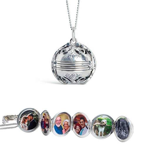 Lily Blanche Damen Halskette mit Medaillon in Sterlingsilber Entworfen in Großbritannien