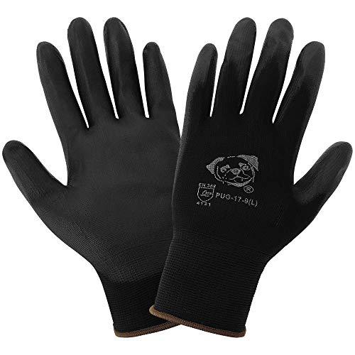 Pug Global Glove PUG17 Black Polyurethane Coated Nylon Gloves, 12-Pack Small