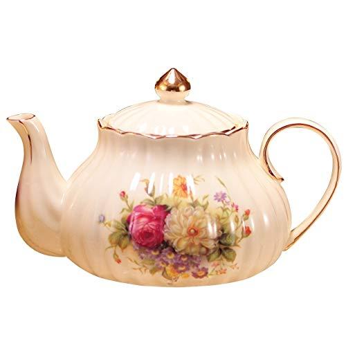 Floral Tetera, Cafetera de porcelana, cerámica café del pote del té, la tetera de cerámica floral de la vendimia (Color : A)