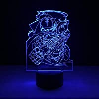 3D LED錯視ランプ キッズナイトランプ鋼の錬金術師ナイトライト子供の寝室の装飾用USB電源付きナイトライト