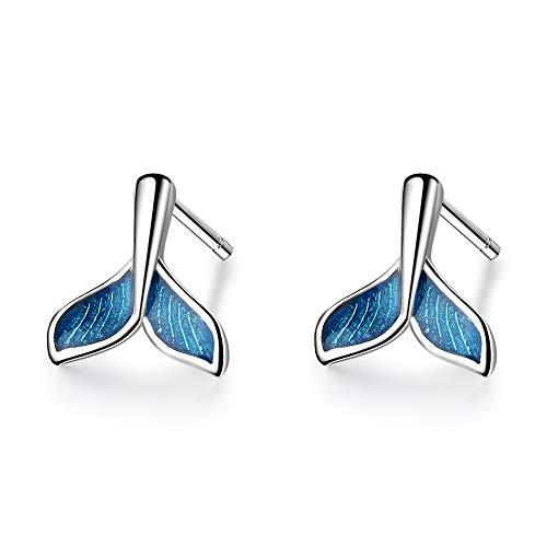 XINTIAN Stud Earrings 925 Solid Sterling Silver Piercing Blue Earrings for Women Wedding Sterling-silver-jewelry