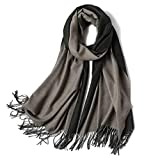Womens Reversible Scarf, Soft Cozy Cashmere Long Shawl Scarves For Women's Fall Winter Warm-Q