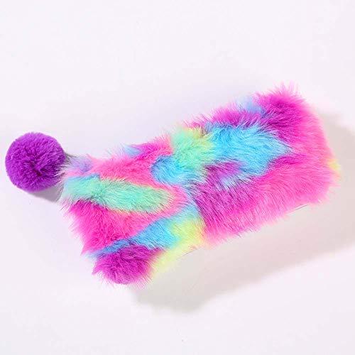 Homieco 3 Pcs Arc-En-Peluche Doux Sac À Main Sac À Cosmétiques Sac Girly Mignon Crayon À Poche Petit Maquillage Organisateur Étudiant Papeterie Bourse Magique Couleurs Violet, Violet cheveux ampoule