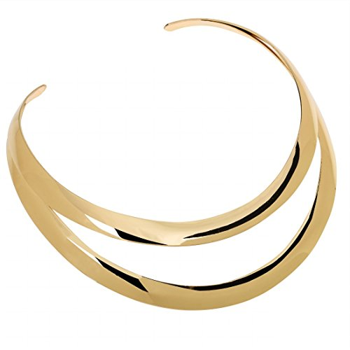 Jerollin Gold/Silver Choker Collar Necklaces Christmas Gift for Women, Stainless Steel Gold Statement Necklace Open Choker Bib Necklace African Jewelry Necklace