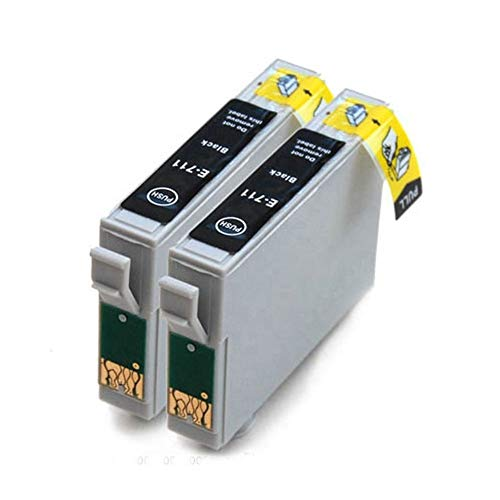 Wschen Vilaxh 2pcs T0711 Cartucho de Tinta Compatible for el Stylus D78 D92 D120 DX4000 SX210 SX215 SX218 SX115 SX400 SX405 SX410 SX415