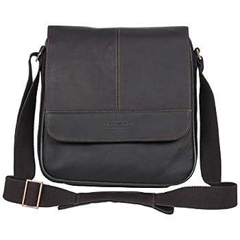 Kenneth Cole Reaction Manhattan Messenger Shoulder Bag Colombian Leather Laptop Computer & Tablet Travel Briefcase Brown Tablet Satchel Day