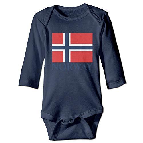 Bandera de Noruega Recién Nacido Niñas Niño Niño Mameluco Bebé Mameluco Camisas de Manga Larga para bebés pequeños(18M,Azul Marino)