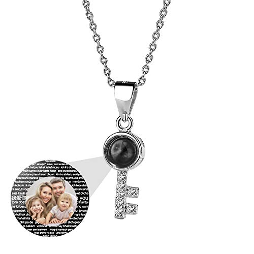 Projection Necklace Key Pendant Necklace Clavicle Necklace 925 Sterling Silver Necklace Christmas for Women(Silver Full Color 18)