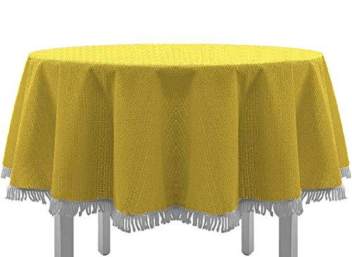 Exclusive Nappe de table de jardin, ronde, ovale, carrée classique avec franges, Textile, jaune, 160 cm