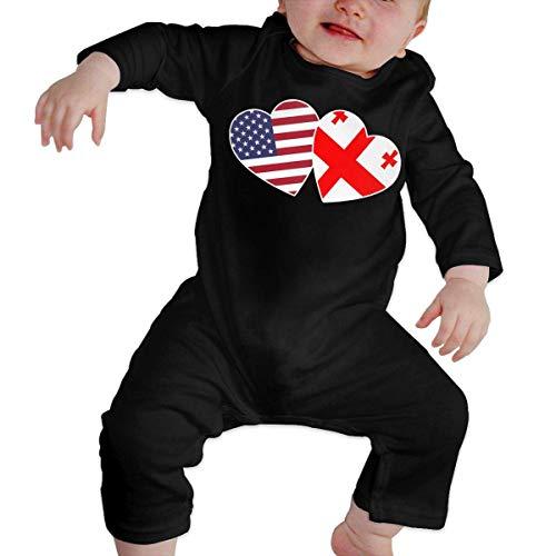 Body à manches longues avec motif drapeau américain de Géorgie à double cœur pour bébé garçon - - 6 mois