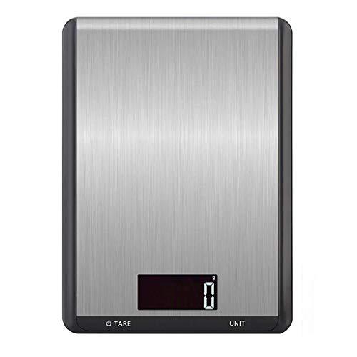 Báscula de cocina digital, 1 g/máx. 5 kg, con pantalla LCD, 7 unidades, báscula doméstica con superficie de cristal y función de tara, tamaño compacto, para cocina y hornear, pilas