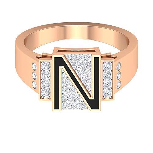 N Initial Ring, Custom Verlobungsring, Buchstabe Alphabet Ring, Schwarzer Emaille Ring, HI-SI 1/2 CT Diamantring, Einzigartiger Ehering, Geburtstagsring, 14K Roségold, Size:EU 58