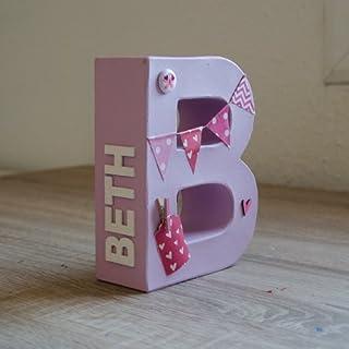 Letras para niño y bebé pintadas y decoradas en tonos rosas. Para recién nacidos, cumpleaños, baby shower, letras decorati...