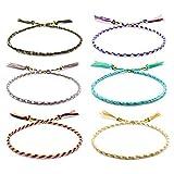 VU100 6 Piezas Pulseras de la Amistad para Mujeres y Niñas, Hechas a Mano, Trenzadas, Multicolor, Finas Cuerdas