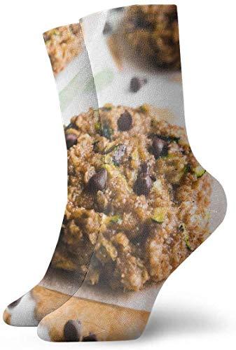 Chocolate Chip Zucchini Bread Haferflockenplätzchen Rutschfeste Kompressionssocken Gemütliche Athletic Crew Socken Kompressionsschweiß Rutschfeste 30 cm Unisex