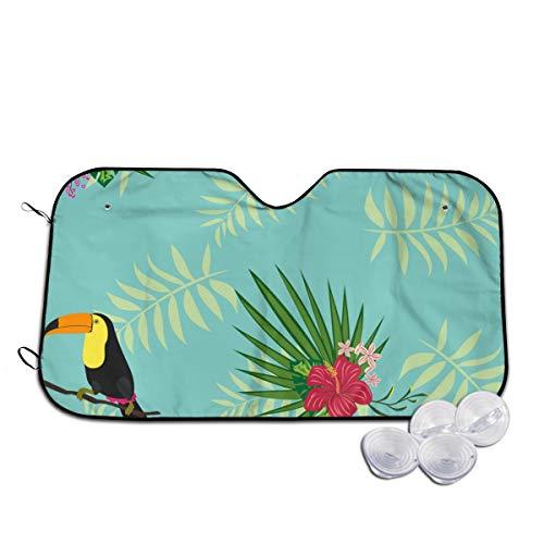 Rterss planten zoals Toucan en grote rode bloem voorruit zon schaduw vizier voorruit glas voorkomen dat de auto van verwarming tot binnen gepersonaliseerd
