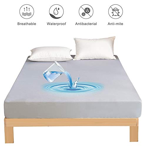 MH MYLUNE HOME Waterproof Mattress Protector Breathable Mattress Pad Cover Stretches up to 13inches Deep Pocket (Gray, Twin)