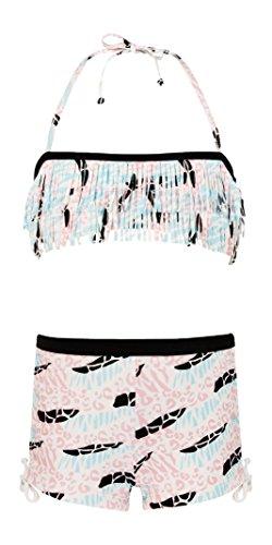 Snapper Rock Mädchen Fransen-Bandeau mit Shorts Surf Safari Bikini, Weiß/Schwarz/Rosa/Blau, 2-3 Jahre, 98-104cm