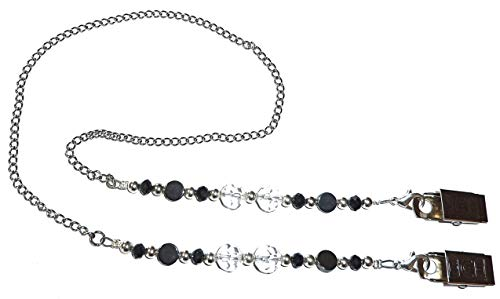 """Face Mask Holder Chain Necklace Strap, Made in USA, Decorative Fashion Leash, Holds Your Face Mask Around Your Neck 25"""" Long (Black Hematite & Crystals)"""