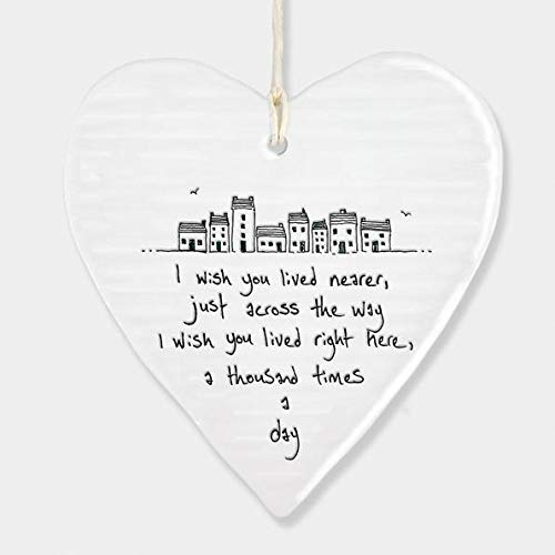 East Of India Hanging Heart Gift I wish you lived nearer