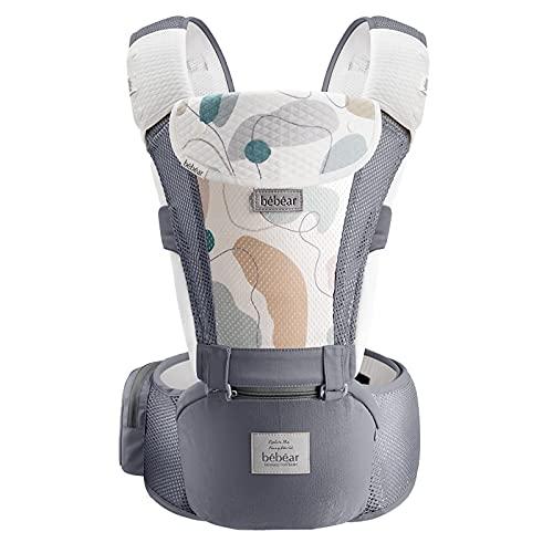 Bebamour Marsupio per 0-36 mesi, marsupio traspirante da neonato a bambino, approvato dagli standard di sicurezza, seggiolino ergonomico 6 in 1 anteriore (New Air Grey)