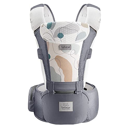 Bebamour Baby Carrier for 0-36Months, 3D Air Mesh Baby Carrier Backpack for Newborn to Toddler, Approved by Safety Standard, Ergonomic Baby Hip Seat 6 in 1 Front Carrier (3D Air Grey with Designed)