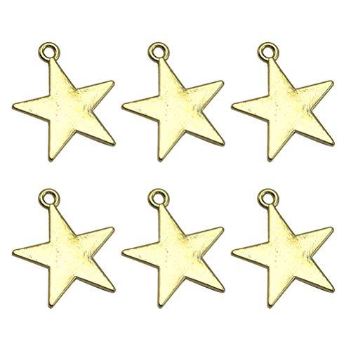 TENDYCOCO 50 stks Pentagram Legering Hanger Ketting Armband Bedels voor DIY Craft Sieraden Maken (Gouden) 50pcs goud