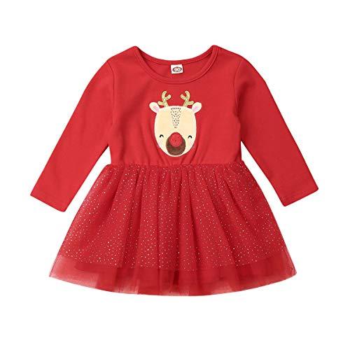 Vestido Niña de Navidad Vestidos de Tul con Manga Larga Disfraz Navideño Estampado de Alce Baby Girl (12 Meses - 4 Años)