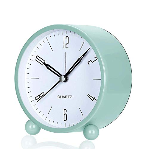 Relojes de Alarma Silenciosos, Despertadores Silenciosos, Despertador Redondo, Sin Tictac Despertador, Reloj Cabecera Silencioso, con Luz Nocturna, para Dormitorios Despertador Viaje Oficina, Verde