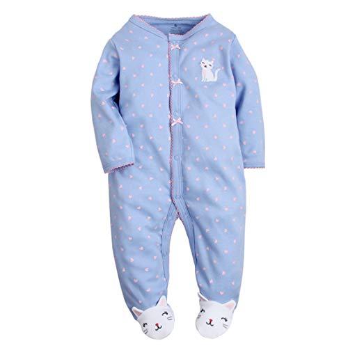CARETOO Unisex Baby Schlafstrampler Bärchen, Baumwolle Pyjamas Cartoon Strampler, Blaues Lila, Gr.-0-3 Monate/Etikettengröße- 3M