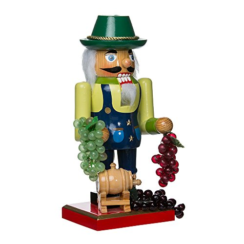 Kurt Adler Wooden Winemaker Nutcracker, 10.25-Inch