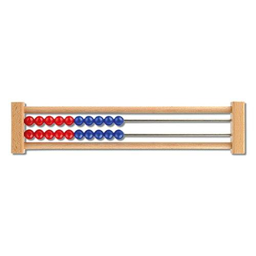 Rechenrahmen, 20 Perlen, verschiedene Farben, Rechenschieber, Abakus   Wiemann Lehrmittel (Rot/Blau – Rot/Blau)
