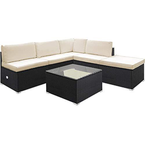 Deuba Poly Rattan Aluminium Lounge Set Schwarz Bild 4*
