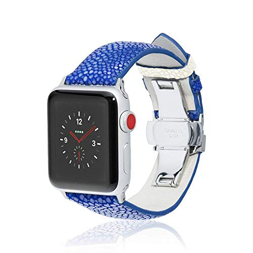 fitjewels for Apple Watch Band 42/44mm - Stingray - Blue/White - Silver Adapter Clasp- Leather iwatch Strap Replacement Band with Butterfly Clasp for Apple Watch Series 5 Series 4/3/2/1