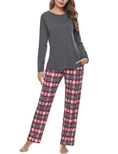 Aibrou Damen Zweiteiliger Schlafanzug Set, Baumwolle Langarm Nachtwäsche Raglanärmel Sleepwear und Plaid Pyjamahose Hausanzug Freizeitanzug Stil 1:Dunkelgrau L