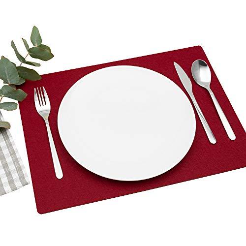 FILU Platzsets aus Filz 4er-Pack Dunkelrot eckig (Farbe und Form wählbar) 30 x 41 cm – Tischset für drinnen und draußen Deko für Esstisch im Wohnzimmer, Gartentisch/Balkontisch