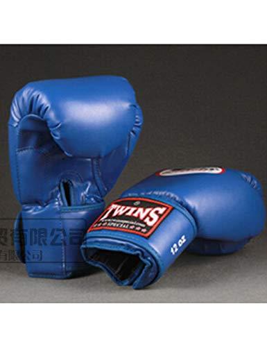 ERHUAN 10 12 14 Oz Guantes De Boxeo Cuero De PU Muay Thai Guantes De Boxeo Free Fight MMA Sandbag Guante De Entrenamiento para Hombres Mujeres Niños 4 Colores,Azul,12 Onzas