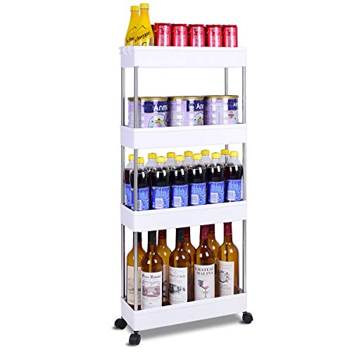 Lantaly Gap Slim Storage Cart Mobile Shelving Unit Organizer Slide Out Pantry Storage Rolling Utility Cart Tower Rack for Kitchen Bathroom Laundry Narrow Place, White (4 Tier)